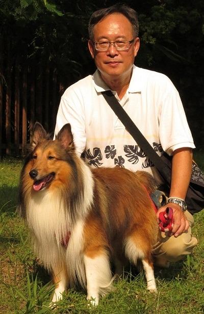 台南市关怀动物生命协会理事杨福仁饲养的喜乐蒂「福