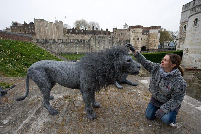 記者 何宜/綜合報導 看起來栩栩如生的野生動物,仔細一看竟然是由鐵絲網製作而成!1988年列為世界文化遺產、歷史悠久的倫敦塔,在13世紀時曾是皇家動物園。裡頭豢養著亨利一世運來的動物,及亨利三世接收作為餽贈的野生動物。這座惡名昭彰的動物堡壘直到1835年才關閉,為了帶民眾重回歷史,歷史皇家宮殿委員會也在倫敦塔規劃「皇家野獸」展覽,展期將持續到2021年,有到倫敦玩的民眾別忘了去朝聖一下喔!  歷史皇家宮殿委員會官網上寫道,這個展覽由知名藝術家肯德拉(Kendra Haste)製作了13隻真實大小的鐵絲雕塑