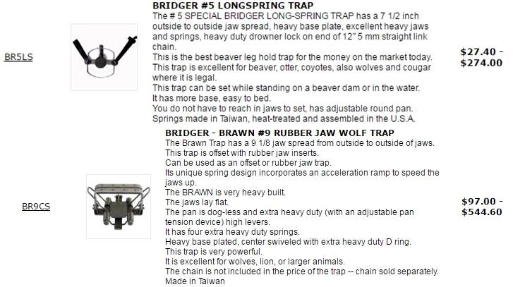 在美國可輕易購買成品或零件由台灣製造捕獸鋏。 截自網路