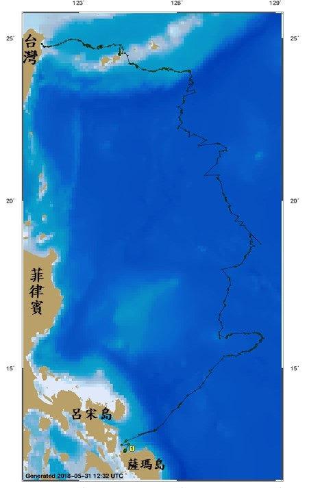 玳瑁「魷魚絲」洄游路徑圖。林務局提供。